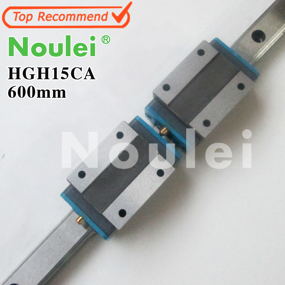 Noulei 1pcs HGR15 carriage Linear Guide Rail 600mm 2pcs  HGH15CA HGH15 free shipping to argentina 2 pcs hgr25 3000mm and hgw25c 4pcs hiwin from taiwan linear guide rail