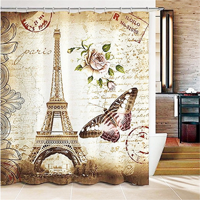 forest beige fabric shower curtain beige shower curtain brick wall with leaf print for. Black Bedroom Furniture Sets. Home Design Ideas