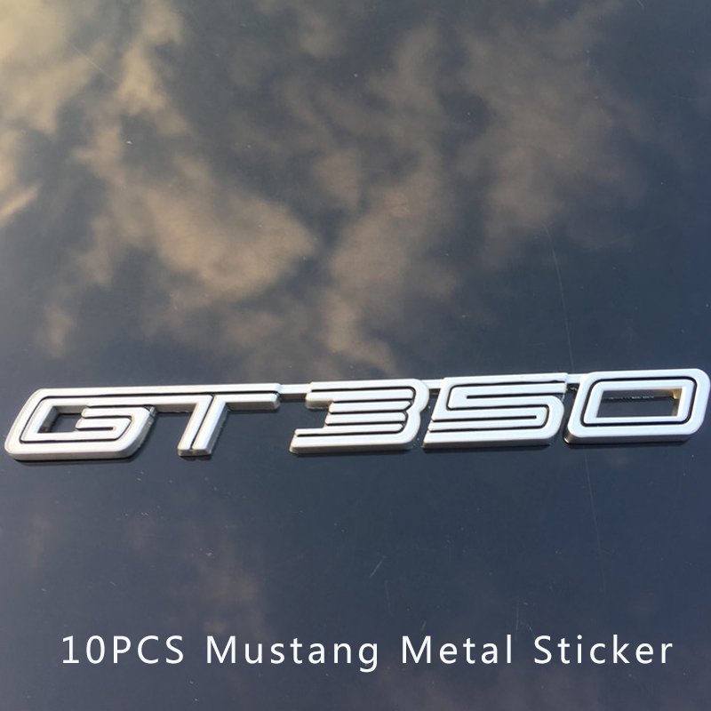 Free Shipping 10pcs Metal GT 350 boot Metal 3D Emblem Badge Car Rear Trunk Sticker For ford Mustang GT350