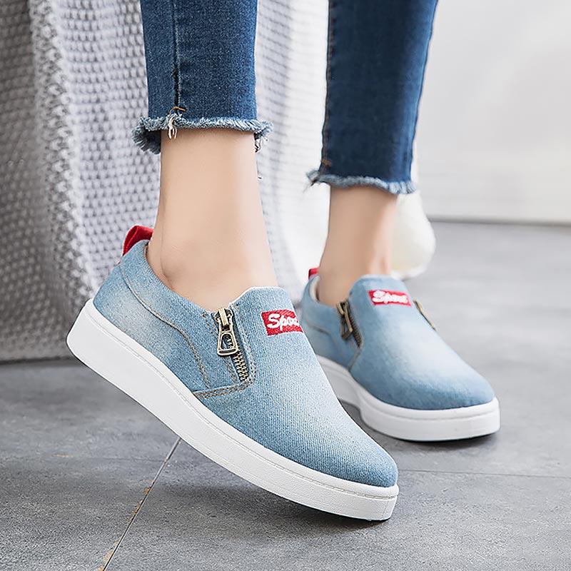 Women shoes 2019 new arrival fashion denim women casual shoes femme tenis feminino zip canvas shoes women sneakers plus size