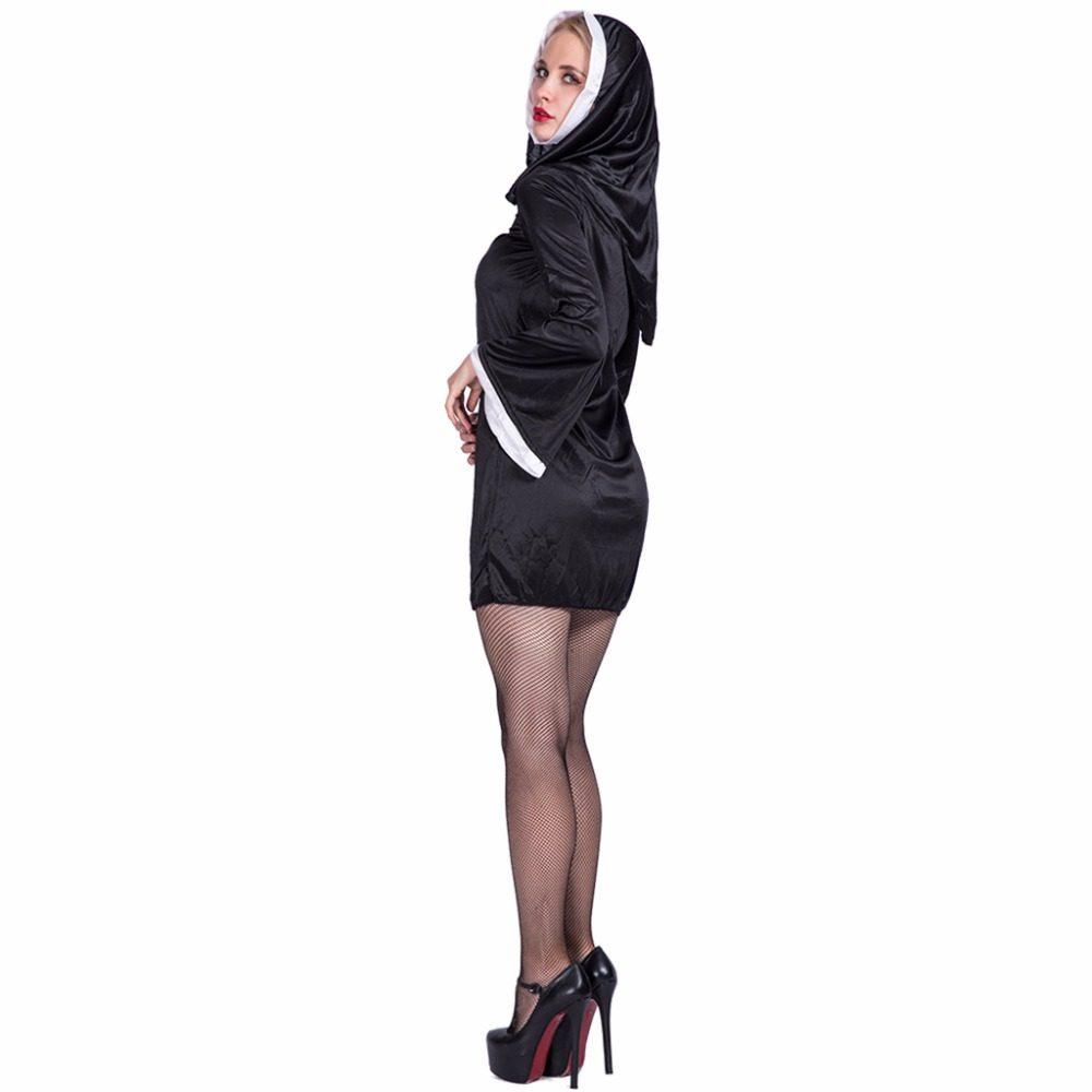 Women Sexy Black Slutty Nasty Blonde Sister Hot Nun Costume Cosplay Party Fancy Dress for Female Adult Lady Halloween Costumes