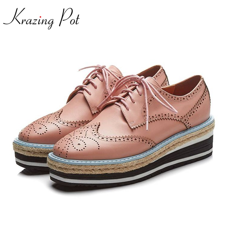 Krazing Pot 2018 summer cow leather wedges thick bottom high heels shoes women waterproof pumps lace up hollow Oxford shoes L37 krazing pot recommend autumn cow leather wedges thick bottom high heels straw sole pumps lace up mixed color oxford shoes l92