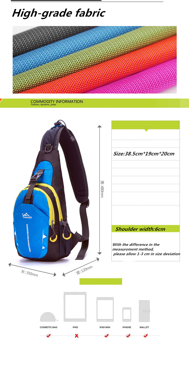 New Nylon Waterproof Man Women Chest pack Shoulder Bags and Travel Pouch Crossbody Bags