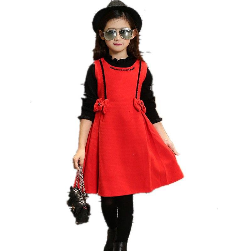Sweet Bowknot Girl Christmas Dress 2016 New Fashion Sleeveless Girls Princess Dress Warm Designer Girls Dress Kids Clothing sweet sleeveless bowknot design pure color girl s dress