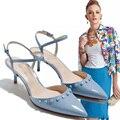 Summer Sexy Lady Sandalias Rivet Mujeres Bombas 5 CM Tacones Altos moda Señaló Dedo Del Pie Zapatos de Mujer Sandalia Hueco Tacones Bajos Calzado zapatos
