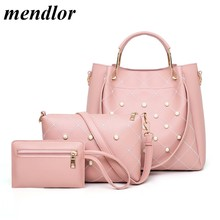 Women Leather Handbags Female Handbag Brands Ladies Hand Bags Tote Bag 3 Pcs/set Composite Bag(China)