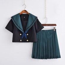 UPHYD Новое поступление школьное платье униформа ортодоксальная JK Униформа Аниме Косплей матросские Костюмы топ и зеленая плиссированная юбка