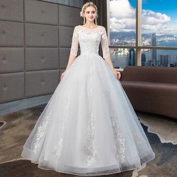 New Embroidery Vestido De Noiva Ivory Appliques Lace Wedding Dress Half Sleeves Round Neck Wedding Gown Bride Dress