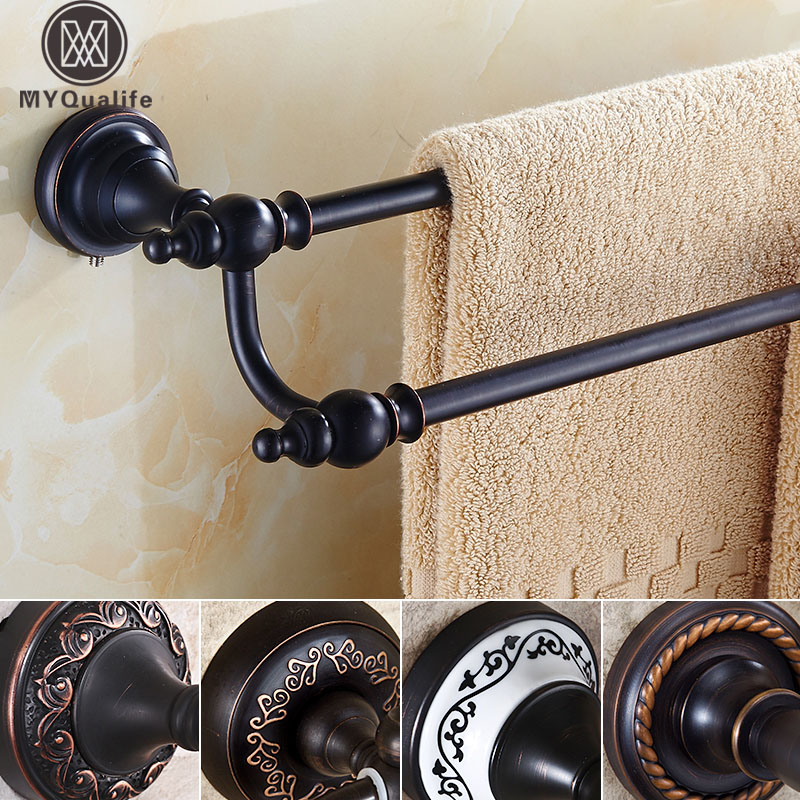Oil Rubbed Bronze Towel Bar 60-64cm Bathroom Accessories Set Double Towel Rail Holder Wall Mounted black oil rubbed bronze bathroom accessory wall mounted toothbrush holder with two ceramic cups wba197