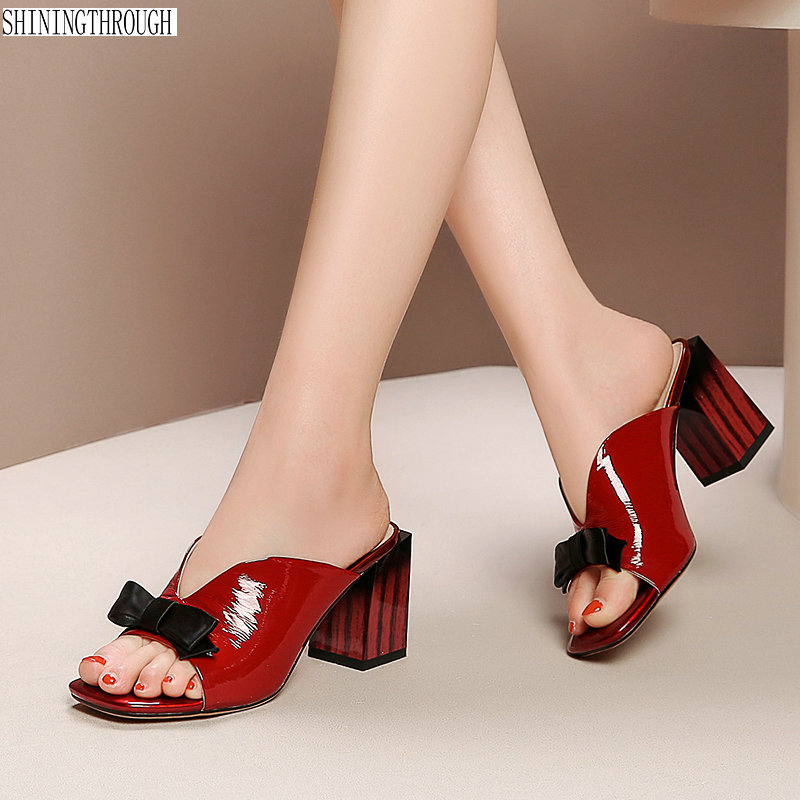 2019 Ladies Slippers Pointed Toe bowties thick high Heels Footwear Summer Fashion Outside Women Mules Shoes