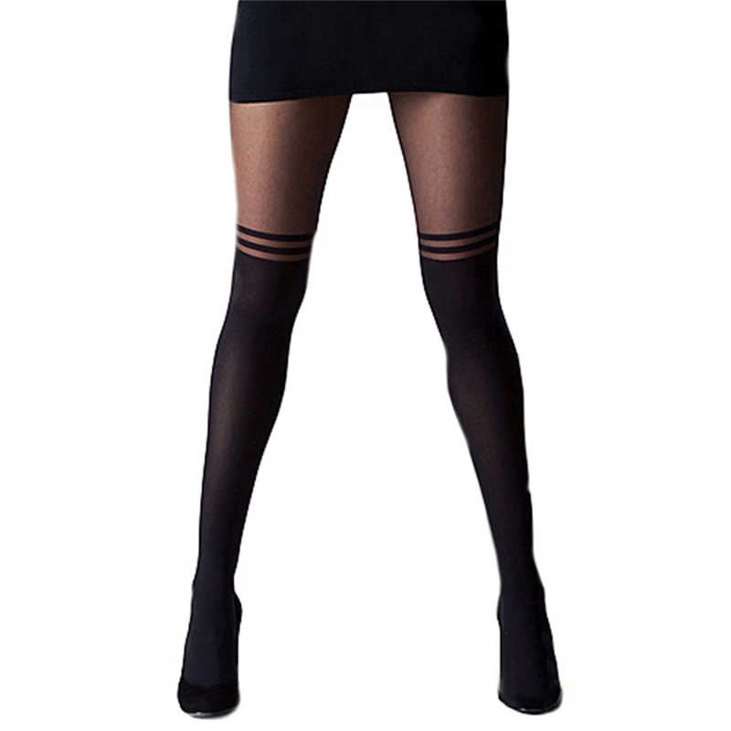 2a867099b98 Girls Sexy Black Tights Women See-through Sheer Mock Suspender Stocking  Pantyhose Cool Over Knee
