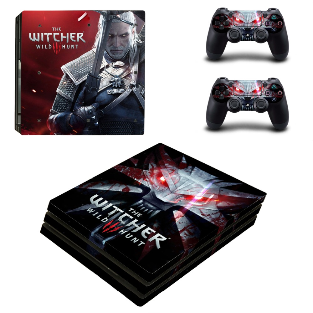 ps4 pro skin sticker cover for sony playstation 4 pro console controllers the witcher 3 wild. Black Bedroom Furniture Sets. Home Design Ideas