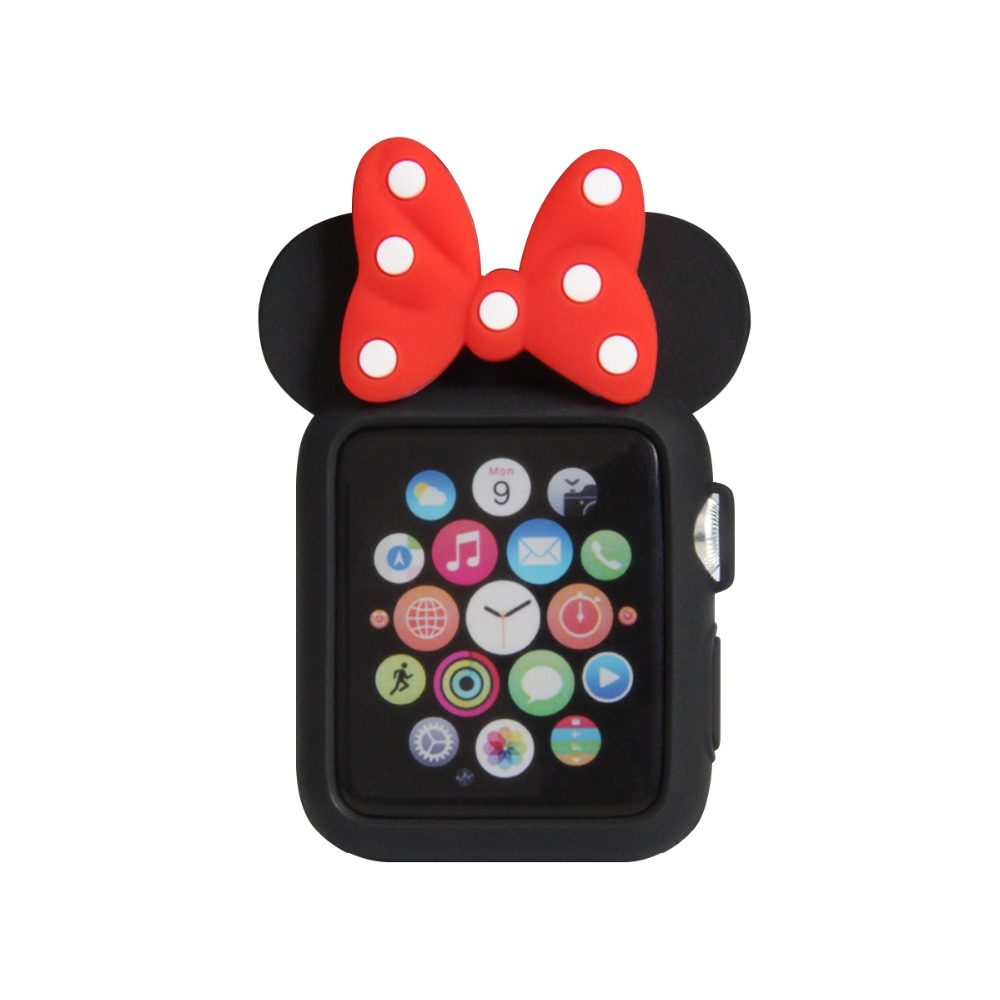Cute Cartoon Minnie Mouse Ear Soft Silicone Protective Phone Applewatch Series 1&Amp;2&Amp;3 Phone Cover 38/42Mm For Apple Case