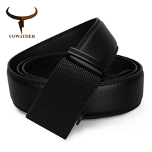 COWATHER fashion men belt top cow genuine leather automatic buckle belts for men causal design cowhide male strap free shipping