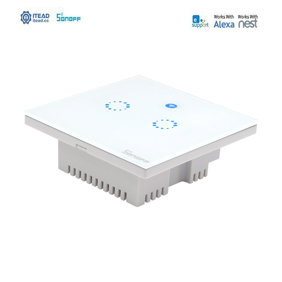 New Sonoff T1 2 Gang Uk Wifi Smart Rf App Touch Control
