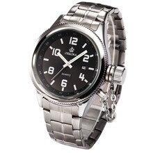 Orkina высокое качество япония движение водонепроницаемый стальной браслет мужские кварцевые наручные часы Relogio Masculino