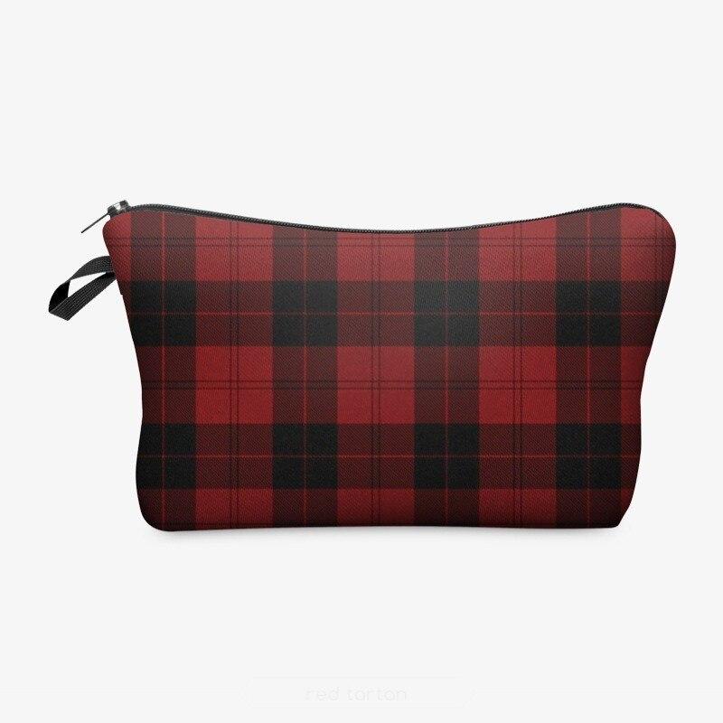Women Plaid Travel Cosmetic Bag Makeup Bags Handbag Female Zipper Purse Small Make Up Bags Travel Beauty Organizer Pouch OC599