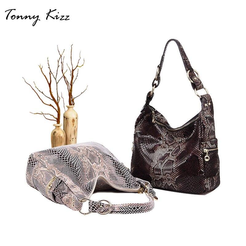 Bagaj ve Çantalar'ten Omuz Çantaları'de Tonny Kizz çanta kadınlar için 2018 büyük omuz çantaları hakiki deri casual bez çanta ile serpantin hobos çanta yüksek kalite'da  Grup 2