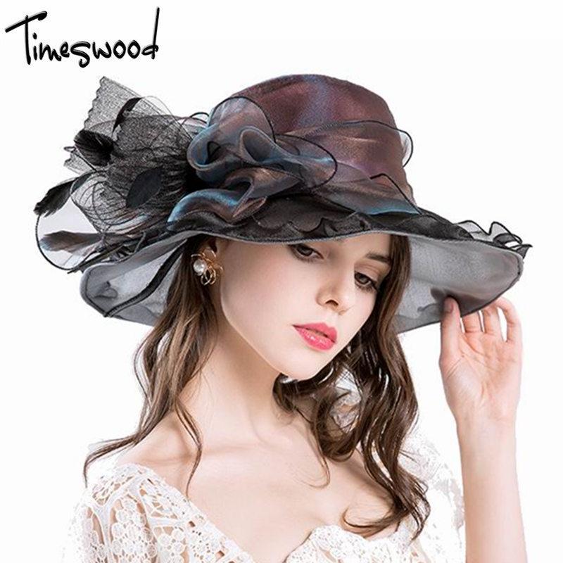 [TIMESWOOD] Luxusní dámské společenské čepice Floppy Flower Sluneční čepice Nové pro ženy Široký okraj Hedvábný kostel Organza Čepice Velkoobchod značky