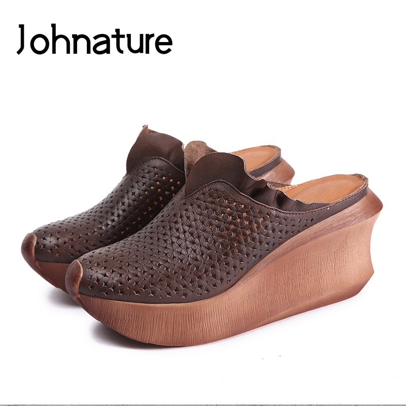 Johnature Genuine Leather Platform Slippers Summer Outside Turned-over Edge Slides Wedges Casual Ethnic Sandals Women ShoesJohnature Genuine Leather Platform Slippers Summer Outside Turned-over Edge Slides Wedges Casual Ethnic Sandals Women Shoes