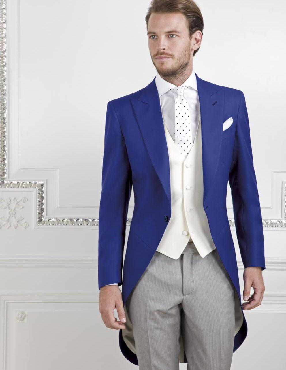 18be8e5b6 Morning Style One Button Royal Blue Groom Tuxedos Groomsmen Men's Wedding  Prom Suits Bridegroom (Jacket+Pants+Vest+Tie) K:600