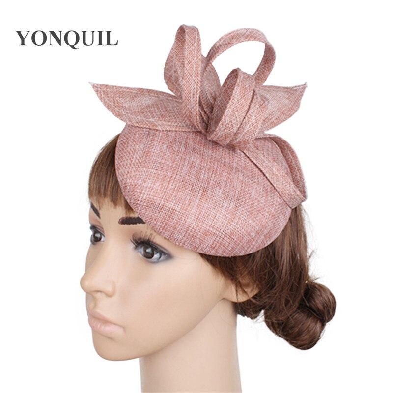 Винтажный головной убор цвета хаки, головной убор Sinamay, головной убор для особых случаев, шляпа Кентукки Дерби, церковная Свадебная вечеринка, гонка, высокое качество - Цвет: peach