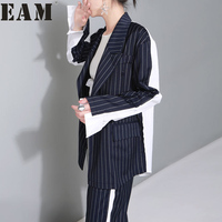 EAM 2018 Spring New Lapel Long Sleeve Yellow Dark Blue Striped Loose Double Row Ruckle