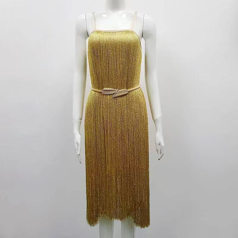 Elegant Evening Party Dress Gold Color Sexy Tassel Dress Strap Sexy Backless HL Bandage Dress With Leaf Belt Top Quality