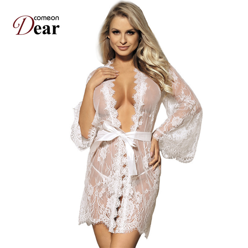 Comeondear Sleeping Wear Nightgown And Robe Set Plus Size Mesh Robe With Belt Breathable Pajamas Sleepwear Lace Robes RJ80528