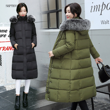 winter jacket women long korean jackets parka ladies padded with fur collar outwear warm coats womens