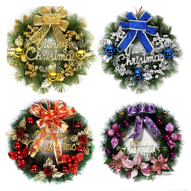 New year christmas wreath with bow handcrafted elegant for 3 wreath door decoration