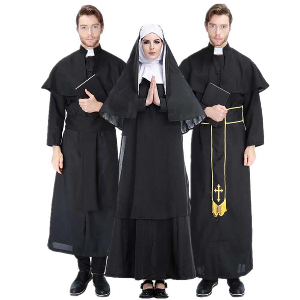 Adult Religious Pious Priest Costume Nun Christian Missionary Fancy Dress Black