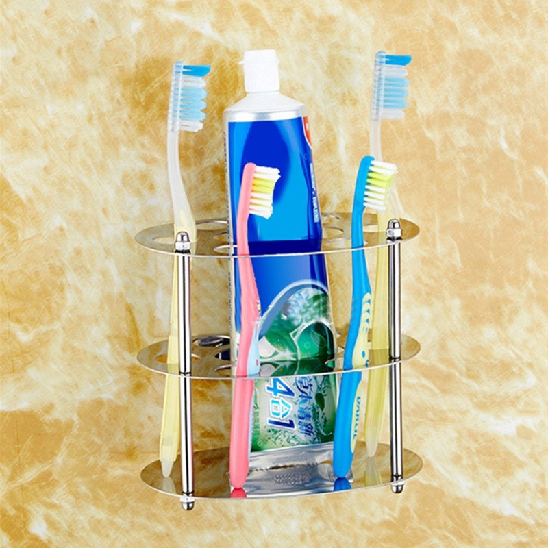 1pc Oval Toothbrush Toothpaste Holder Storage Rack High Quality Stainless Steel Bathroom Toothbrush Toothpaste Razor Organizer