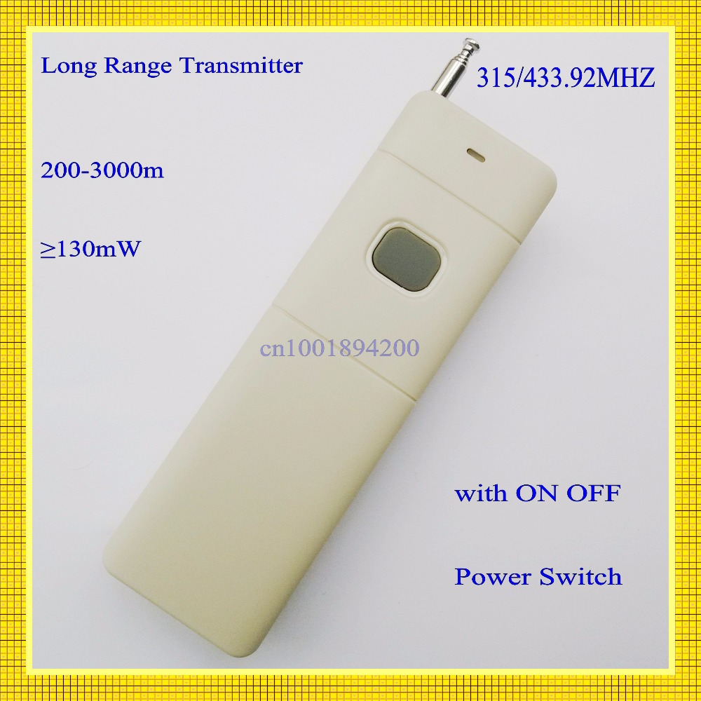3000m Remote Control Transmitter RF Radio Remote 315/433 Long Range Distance High Power Transmitter TX 1CH Big Button 2262 remote control transmitter for remote switch 1 2 3 4 6 8 button small size long range big button remote key pad 315 433 22621527