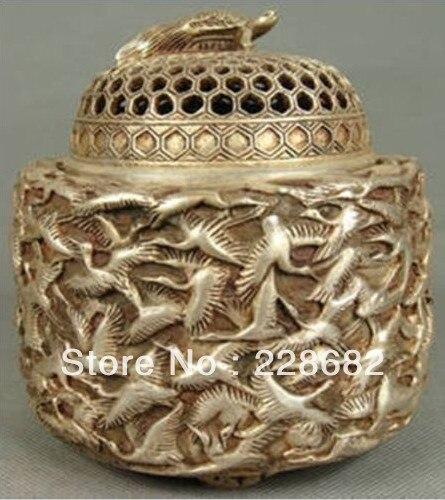 Chinois vieux cuivre argenté travail manuel sculpté cygne brûleur d'encens livraison gratuite