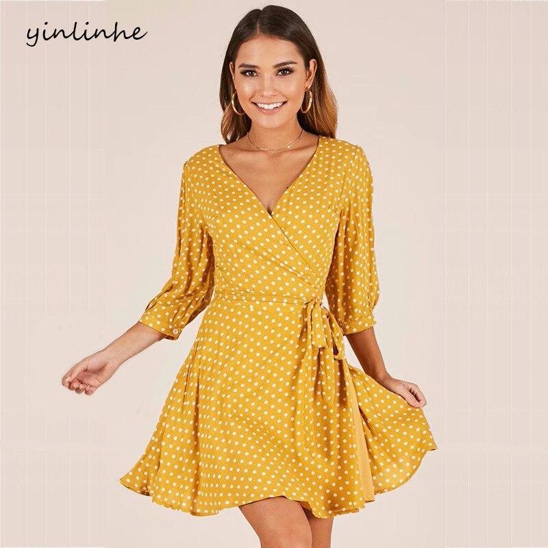 Aliexpress.com : Buy Yinlinhe Yellow Wrap Dress Short