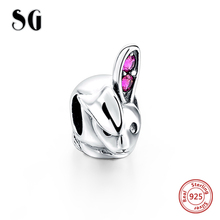 SG New 925 Silver cute animal Rabbit charms beads Fit Authentic pandora bracelets diy fashion jewelry making for women Gifts цена
