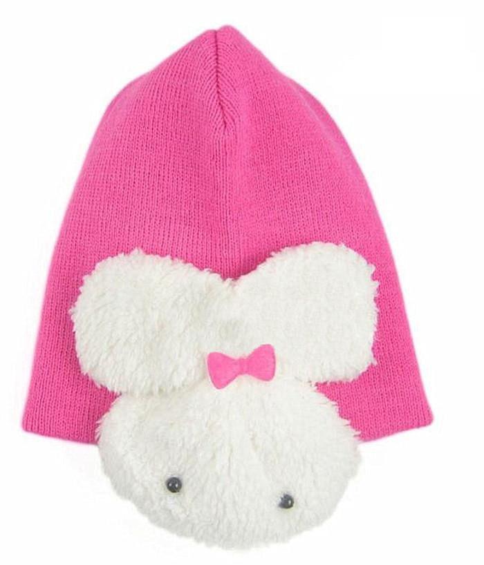 1 шт., 5 цветов, хлопковая шапка с рисунком кролика, детские шапки, детская шапка - Цвет: hot pink