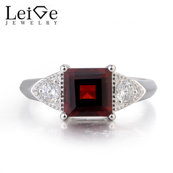 Leige Jewelry Real Natural Red Garnet Ring Wedding Ring January Birthstone Ring Square Cut Gemstone 925 Sterling Silver Gifts