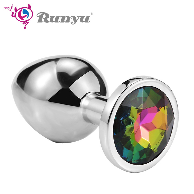 Runyu Intimate Metal Anal Plug With Crystal Jewelry Smooth Butt Plug Anal Bead Anus Dilator Anal Toys For Men/Women