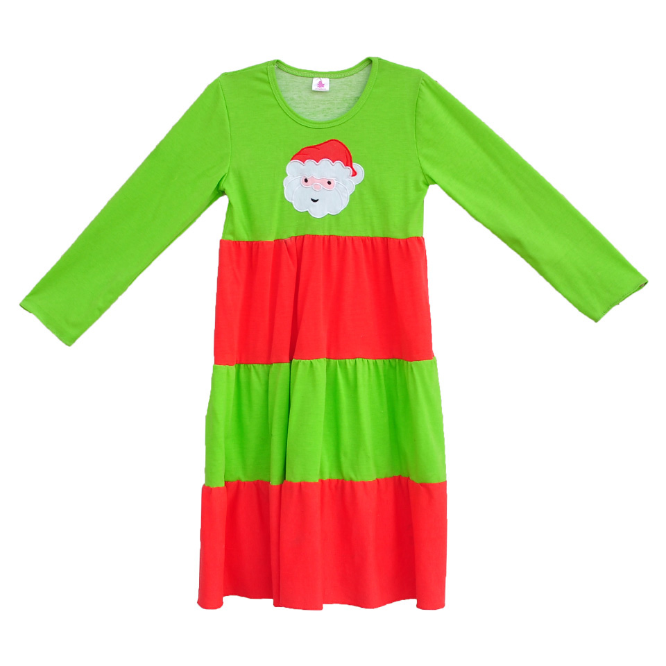 High Quality Kids Christmas Long Dress Green Red Santa Claus Dress Girls Full Sleeve Winter Knitted Cotton Clothing  C021 5m high big inflatable christmas santa claus climbing wall decoration 16ft high china factory direct sale festival toy