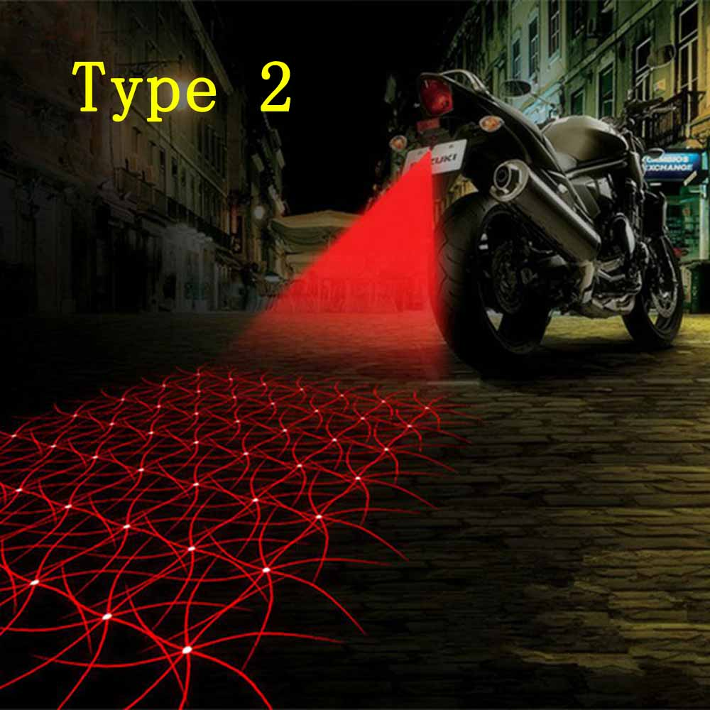 Cool Motorcycle Tail Warning Light Laser Fog Lamps Waterproof Moto Rear Braking Reversing Lights Driving Safety Motorbike Refit