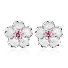 Стерлинговое Серебро 925 пробы, модные женские серьги-гвоздики с цветком вишни и кристаллами, Женские Ювелирные изделия, подарок на день рождения, дешево