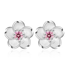 e4c6dcc42 100% 925 sterling silver fashion Cherry blossoms flower crystal ladies`cute stud  earrings women jewelry birthday gift cheap