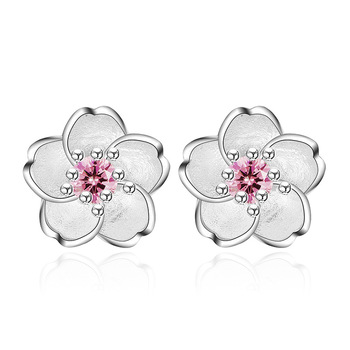 100% 925 sterling silver fashion Cherry blossoms flower crystal ladies`cute stud earrings women jewelry birthday gift cheap