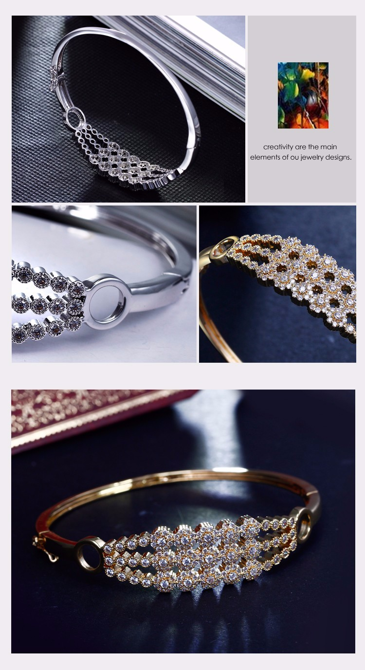 Triple layers Top quality cz stones Women bangles