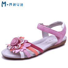 Mmnun 2017 New Girls Sandals Breathable Soft Genuine Leather Flower Sandal for G Kids Shoes Summer Princess Shoes Size 31-36