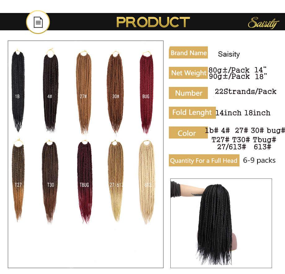 Saisity Micro Box Braids Crochet Hair Extensions Ombre Fiber Synthetic Braiding Hair Bulk Crochet Braids