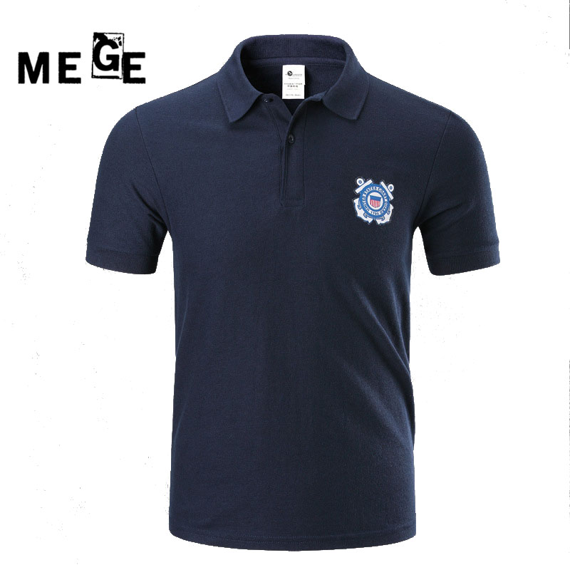MEGE Brand Outdoor Sports Military Tactical POLO Shirt Lapel Print T-Shirt Mens Short-Sleeve T-Shirt US Coast Guard Pattern