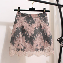 MUMUZI Lace skirt female summer 2019 new crochet flower hollow out skirts for women high waist chic skirt package hip hit color chic high waist solid color over hip skirt for women